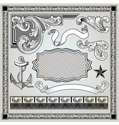 detailed engraving elements vector image vector image