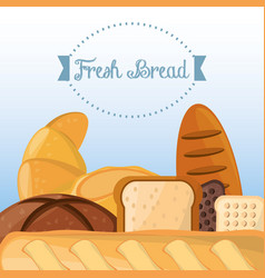 Fresh bread baking organic health food vector