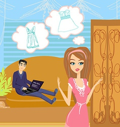 Girl did not have nothing to wear vector