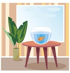 Goldfish in aquarium vector image