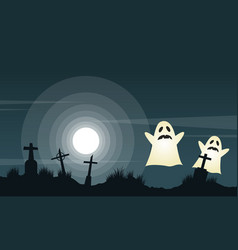 halloween background with graveyard landscape vector image