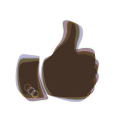 hand sign colorful icon vector image vector image