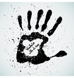 Handprint with six toes vector