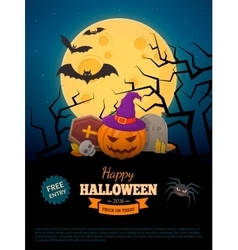 Laughing pumpkin in witch hat vector