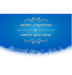 merry christmas and happy new year text on blue vector image