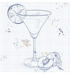 Paradise alcoholic cocktail on a notebook page vector
