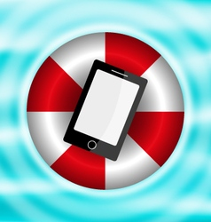 Phone in a lifebelt on the water vector