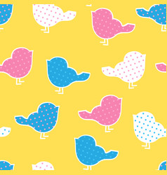 Seamless pattern with colorful birds silhouettes vector