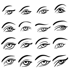Set of 16 eye designs vector