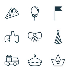 Set of 9 new year icons includes corona lorry vector