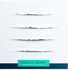 Set of paper torn shadows vector