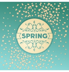 Spring label design with flowers vector image