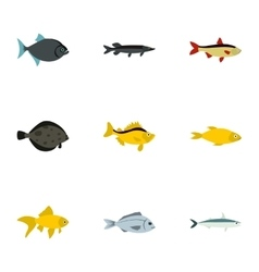 Tropical fish icons set flat style vector