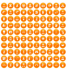 100 human resources icons set orange vector