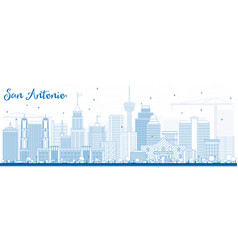 outline san antonio skyline with blue buildings vector image