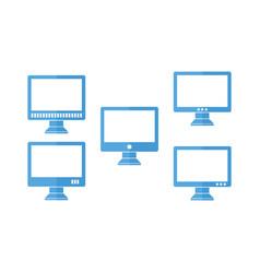 Blue computer icon set vector