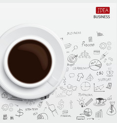 Coffee cup and business strategy business plan ide vector