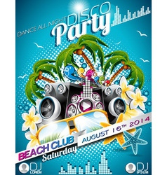 Disco party flyer design with speakers vector