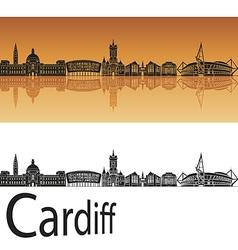 Cardiff skyline in orange background vector image