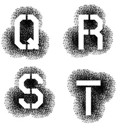 Stencil angular spray font letters q r s t vector