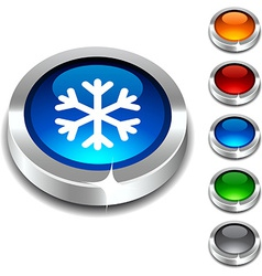 Snowflake 3d button vector