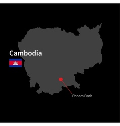 Detailed map of cambodia and capital city phnom vector