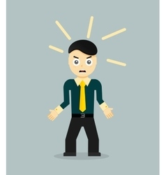 Angry young cartoon businessman or office worker vector
