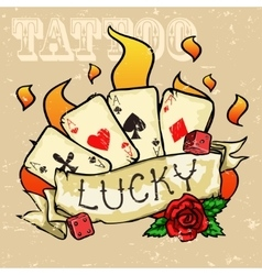 Poker cards tattoo design vector