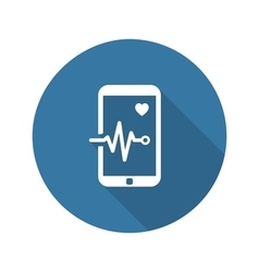 Mobile monitoring and medical services icon flat vector