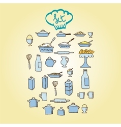 Kitchen food colored icon vector