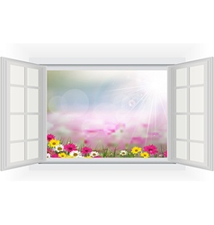 Open window with beautiful flowers vector