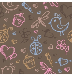 Romantic seamless pattern vector