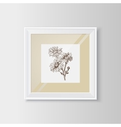 Chamomile sketch in a frame vector