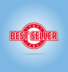 Best seller label red color isolated on white vector