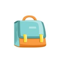 Blue and orange schoolbag vector