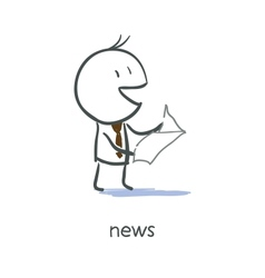 Businessman reading news vector image
