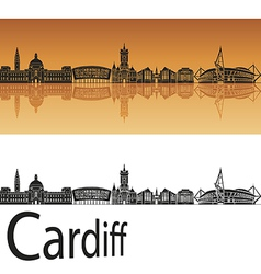 Cardiff skyline in orange background vector image vector image