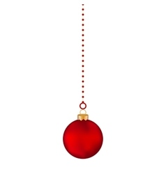 Christmas red ball on a white background vector image vector image