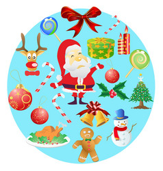 christmas symbols in round cricle vector image vector image
