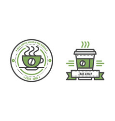 coffee badge logo food design thin line lettering vector image vector image