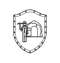 Contour shield with miner with pickaxe vector