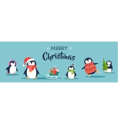 Cute penguins banner - merry christmas greetings vector