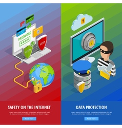 Data Protection Vertical Banners Set vector image vector image