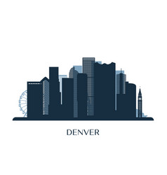 Denver skyline monochrome silhouette vector