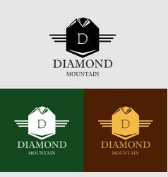 diamond mountain logo template vector image