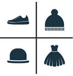 Dress icons set collection of sarafan beanie vector