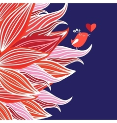 Floral background with bird in love vector image