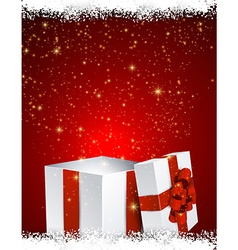 Gift box red background vector image