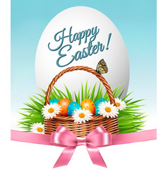 happy easter background colorful eggs and basket vector image vector image