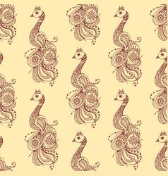 Henna tattoo seamless pattern mehndi flower doodle vector